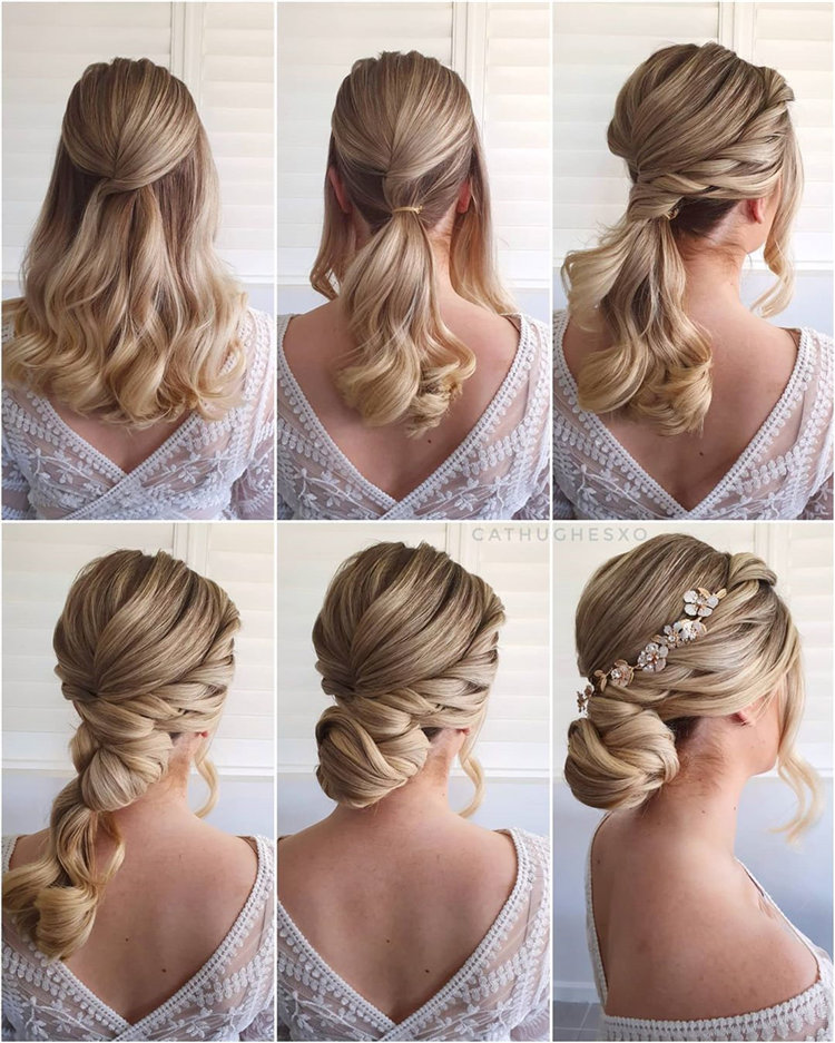 Elegant updo hairstyles for any length and occasion, include low Bun, messy updo and more. If you want to creat updo hairstyle, you can browse our website from time to time. #updos #updohairstyle #bunhairstyles