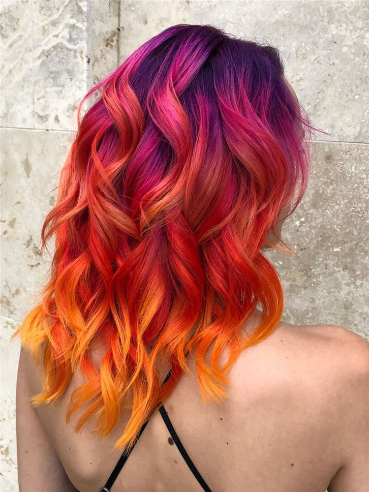 Cool colorful hair color ideas such as, blue-black or enthusiastic fiery red or calm green, charming yellow, mature gray? you can browse our website from time to time. #colorfulhair #haircolor #hairstyle