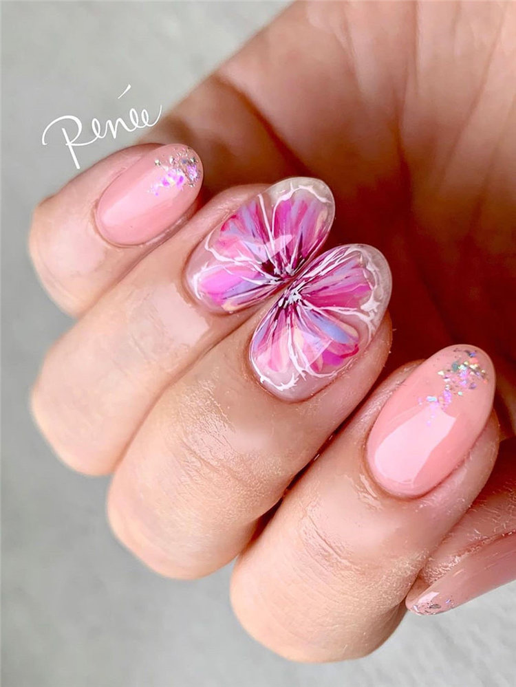 Are you looking for the nails designs for spring? we have found 40 stylish flowers nails ideas. From purplr lavender nails to rose nails and more. You will finding a nail art that you love and that suits spring. #springnails #flowersnails #summernails