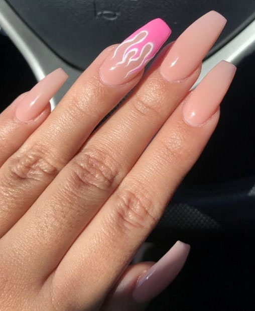 40 Awesome flame nails ideas, There are blue flame or yellow flame or black flame and more. These flame nails ideas are so cool and stunning that you will love them all. #flamenails #flamenailsacrylic #naildesigns
