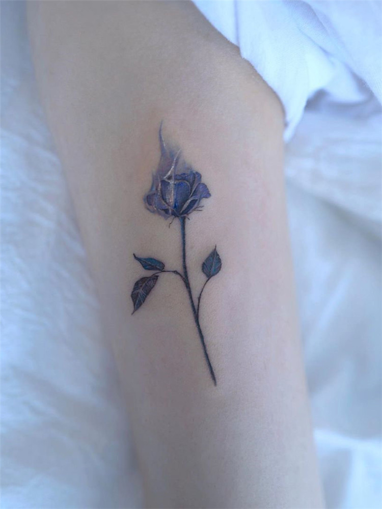 blue rose tattoo design for women: we have put together 50+ of the best rose tattoos. I hope everyone can choose their favorite tattoo and enjoy the process. #rosetattoodesign#tattooideas #tattooideasfemale